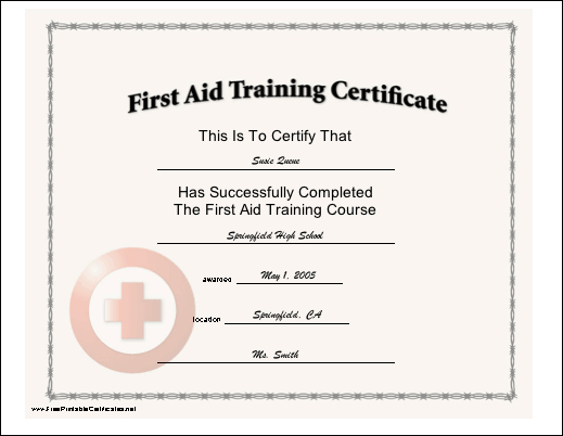 This Certificate, With A Red Cross Seal, Certifies The For Unique First Aid Certificate Template Free