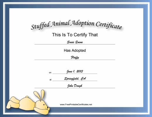 This Free, Printable, Stuffed Animal Adoption Certificate Is for Rabbit Adoption Certificate Template 6 Ideas Free