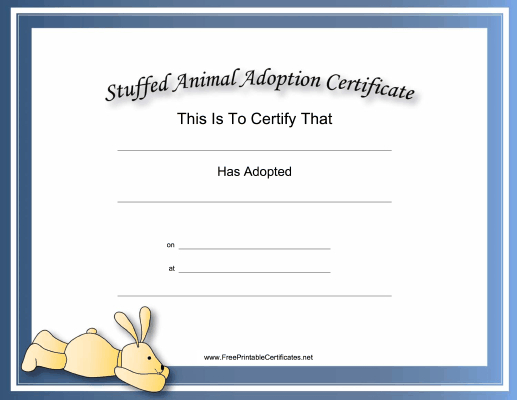 This Free, Printable, Stuffed Animal Adoption Certificate Is intended for Unique Stuffed Animal Adoption Certificate Template Free