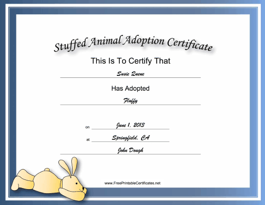 This Free, Printable, Stuffed Animal Adoption Certificate Is Throughout Stuffed Animal Birth Certificate