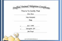 This Free, Printable, Stuffed Animal Adoption Certificate Is with regard to Best Amazing Teddy Bear Birth Certificate Templates Free