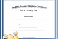This Free, Printable, Stuffed Animal Adoption Certificate Is with Unique Stuffed Animal Adoption Certificate Editable Templates