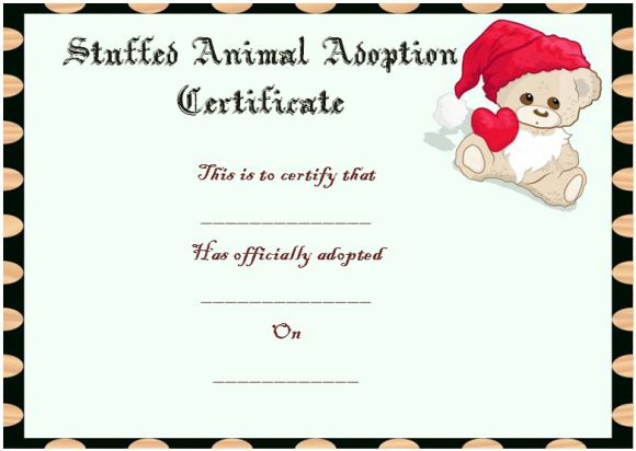 Toy Adoption Certificate Template : 13+ Free Word Templates Throughout Stuffed Animal Adoption Certificate Editable Templates