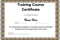 Training Certificate Template Microsoft Word Templates Free with Physical Fitness Certificate Template 7 Ideas