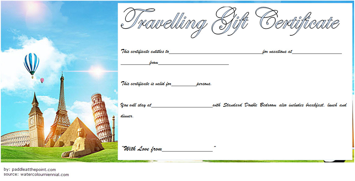 Travel Gift Certificate Template Free Printable 3 In 2020 Pertaining To Fresh Travel Gift Certificate Editable