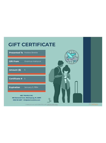 Travel Gift Certificate Template - Pdf Templates | Jotform For Fresh Travel Gift Certificate Templates