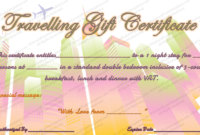 Travelling Gift Certificate Template In 2020 | Printable inside Fresh Free Wedding Gift Certificate Template Word 7 Ideas