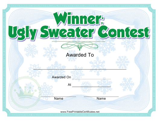 Ugly Sweater Contest Award Certificate Template Download Regarding Best Free Ugly Christmas Sweater Certificate Template