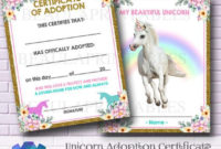 Unicorn Adoption Certificate, Personalize Unicorn Photo, Party Printables,  Unicorn Game, Unicorn Party Invite, Instant Download regarding Best Unicorn Adoption Certificate Templates