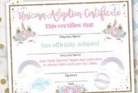 Unicorn Adoption Certificate, Unicorn Birthday, Printable, Instant  Download, 2 Color Options Included in Best Unicorn Adoption Certificate Free Printable 7 Ideas