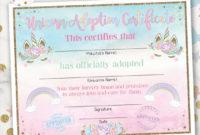 Unicorn Adoption Certificate, Unicorn Birthday, Printable, Instant  Download, 2 Color Options Included with Best Unicorn Adoption Certificate Free Printable 7 Ideas
