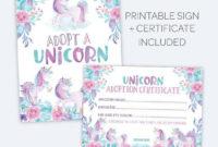 Unicorn Adoption Party Unicorn Adoption Certificate And Sign inside Unicorn Adoption Certificate Free Printable 7 Ideas