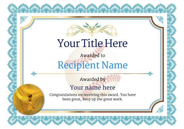 Use Free Baseball Certificate Templates -Awardbox in Best Editable Baseball Award Certificates
