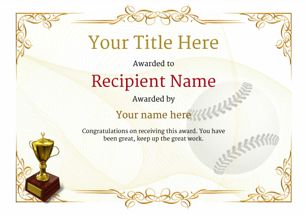 Use Free Baseball Certificate Templates  Awardbox Intended For Best Baseball Award Certificate Template