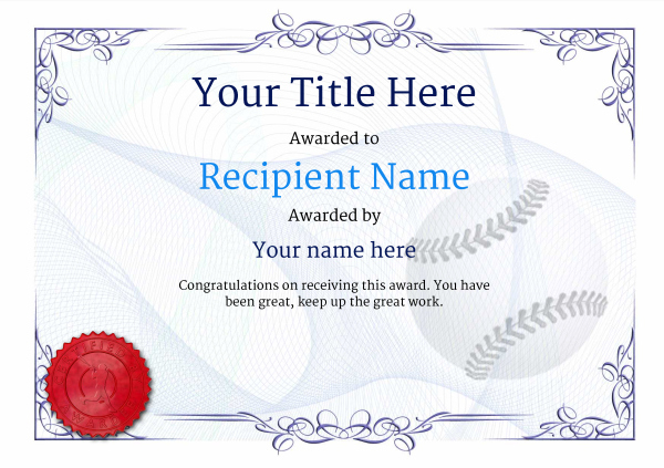 Use Free Baseball Certificate Templates  Awardbox With Regard To Editable Baseball Award Certificates