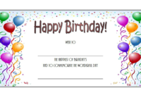 Valentine Card Design: Happy Birthday Gift Card Template with regard to Fresh Happy Birthday Gift Certificate