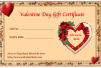 Valentine Gift Certificate Templates | Gift Certificate inside Best Valentine Gift Certificate Template