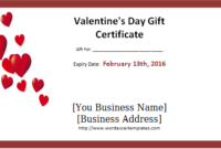 Valentine'S Day Gift Certificate Template Word – Valentines with regard to Valentine Gift Certificate Template