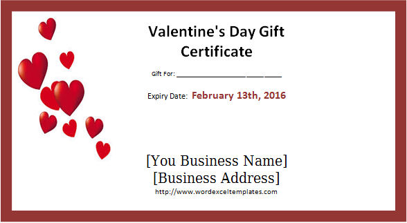 Valentine'S Day Gift Certificate Template Word - Valentines With Regard To Valentine Gift Certificate Template