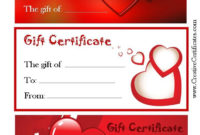 Valentine'S Gift Certificates | Gift Certificate Template for Best Valentine Gift Certificate Template