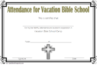 Vbs Attendance Certificate Template 1 In 2020 | Vacation intended for Best Vbs Attendance Certificate Template