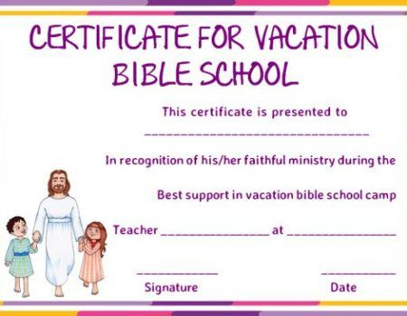 Vbs Certificate Of Completion Template | Bible School in Fresh Vbs Certificate Template