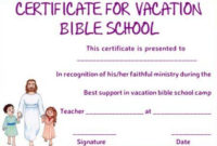 Vbs Certificate Of Completion Template | Bible School inside Unique Lifeway Vbs Certificate Template