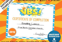 Vbs Vacation Bible School Certificate Of Completion Editable Template  Printable within Vbs Certificate Template