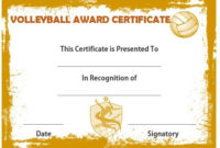 Volleyball Award Certificate   Certificate Templates, Awards in Volleyball Certificate Templates