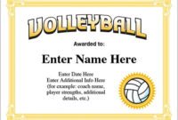 Volleyball Award Certificate – Free Award Certificates with regard to Best Volleyball Award Certificate Template Free