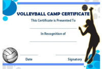 Volleyball Camp Certificate | Award Template, Volleyball throughout Best Volleyball Participation Certificate