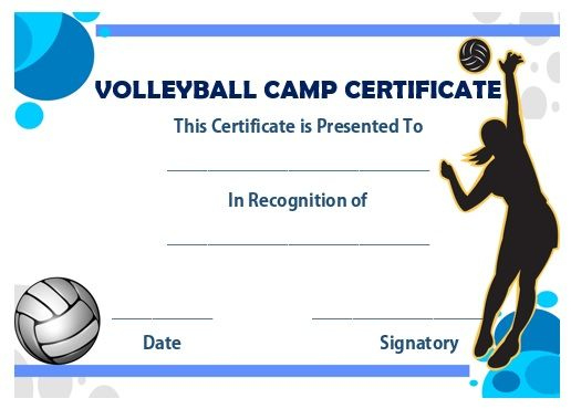 Volleyball Camp Certificate | Award Template, Volleyball with Unique Volleyball Certificate Template Free