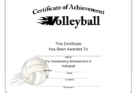 Volleyball Certificate Of Achievement Template Download throughout Volleyball Certificate Template Free