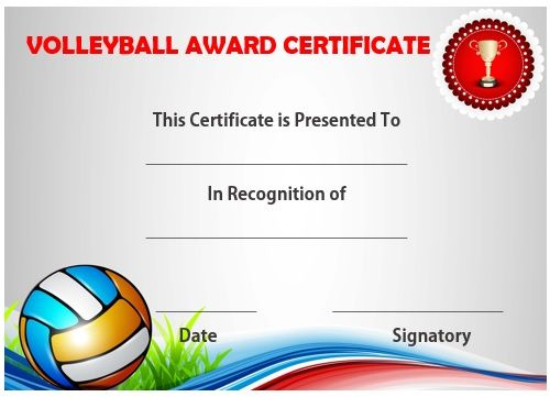Volleyball Certificate Sample | Templates Printable Free With Regard To Volleyball Award Certificate Template Free