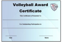 Volleyball Certificate Templates Word | Certificate within Volleyball Participation Certificate