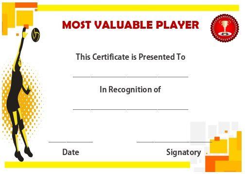 Volleyball Mvp Certificate | Award Certificates, Awards for Volleyball Mvp Certificate Templates