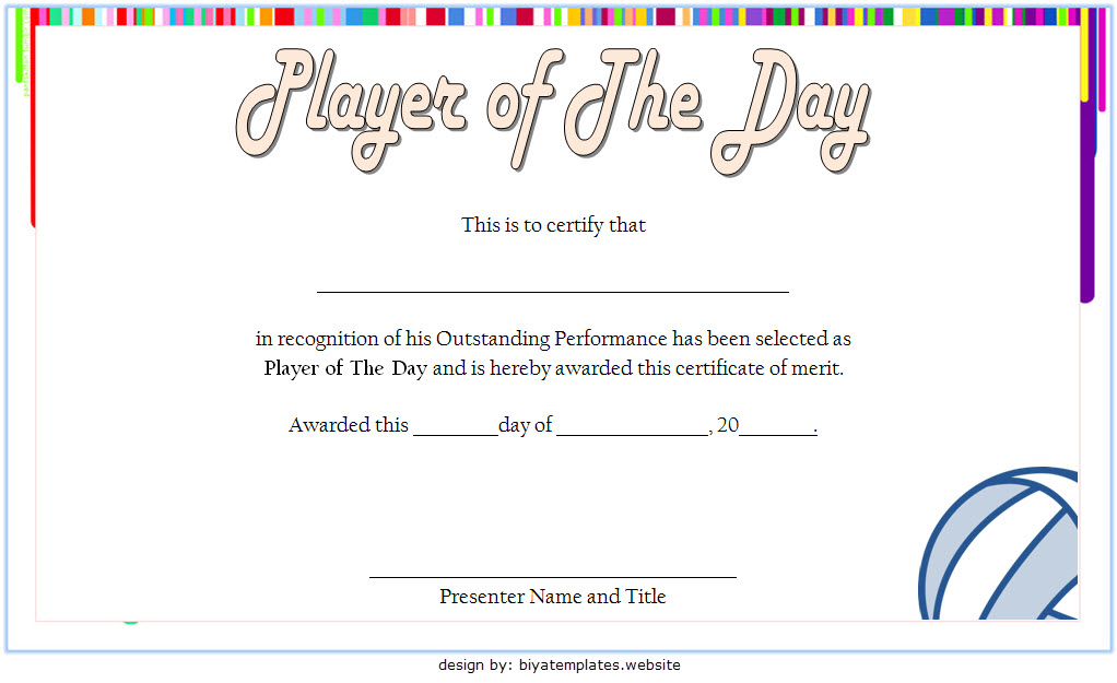 Volleyball Player Of The Day Certificate Template Free In For Best Player Of The Day Certificate Template Free