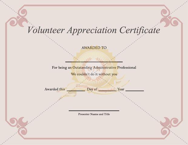 Volunteer Appreciation Certificate Template - Certificate For Volunteer Certificate Templates