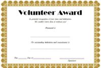 Volunteer Award Certificate Template (3 With Regard To intended for Fresh Volunteer Of The Year Certificate 10 Best Awards