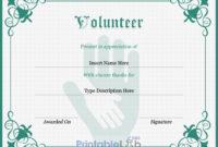 Volunteer Certificate Sample In Silver, Sea Green And Onahau intended for Fresh Volunteer Certificate Templates