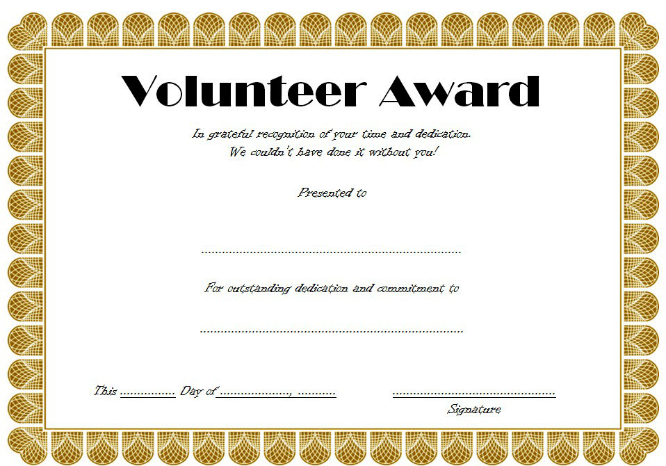 Volunteer Hours Certificate Template Free (4Th Design) In Intended For Fresh Outstanding Volunteer Certificate Template