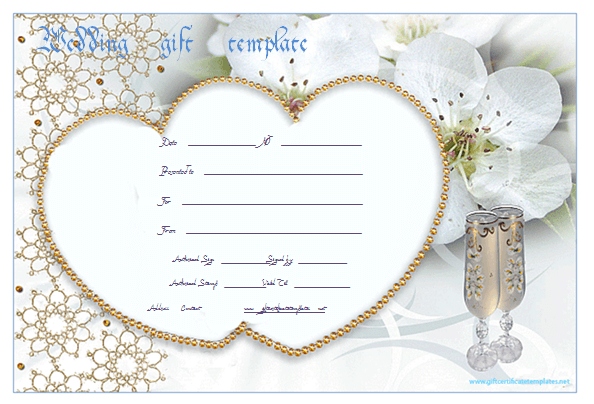 Wedding Gift Certificate Templates | Gift Certificate Regarding Free Editable Wedding Gift Certificate Template