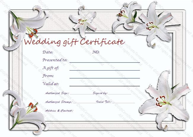 Wedding Gift Certificate Templates With Regard To Free Editable Wedding Gift Certificate Template