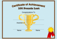 Weight Loss 100 Pounds Printable Certificate inside Weight Loss Certificate Template Free
