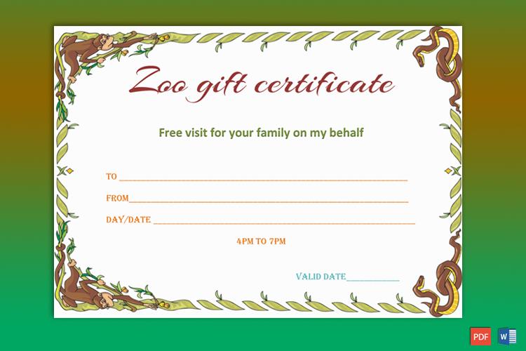 Wild Zoo Gift Certificate Template - Gct In Zoo Gift Certificate Templates Free Download
