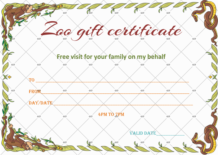 Wild Zoo Gift Certificate Template - Gct With Fresh Zoo Gift Certificate Templates Free Download