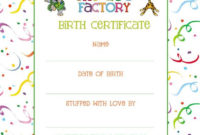Wish Your Zoo Factory Animal A Happy Birthday! – The Zoo Factory pertaining to Stuffed Animal Birth Certificate