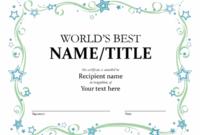 World'S Best Award Certificate inside Best Congratulations Certificate Template 10 Awards