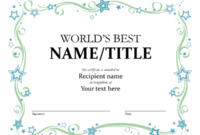 World'S Best Award Certificate with Best Honor Certificate Template Word 7 Designs Free