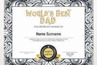 World'S Best Dad, Best Dad Award, Gift For Father'S Day, Editable  Certificate, Printable Father'S Day Award Template, Gift For Dad inside Best Dad Certificate Template